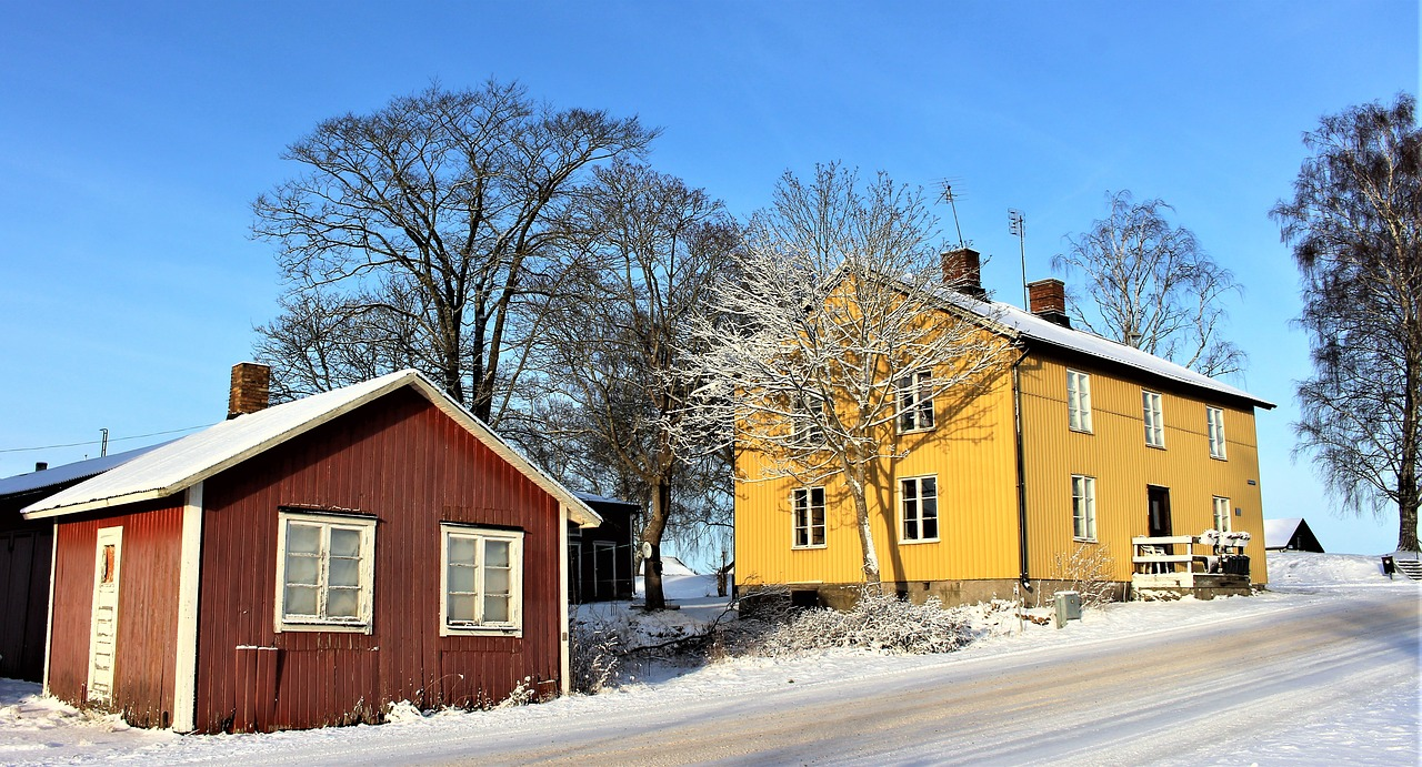 House and a Shed in the Wintertime
