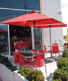 Recacril awning fabrics used as a table umbrella